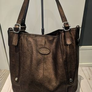 Tod's brown metallic real leather bag